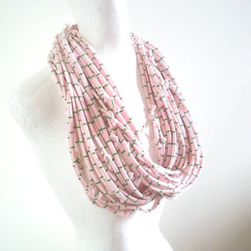Valentine Pastel Pink Infinity Scarf Upcycled Clothing Ballet Pink Green Striped Cowl Scarf Eco Friendly Circle Scarf Winter Accessories