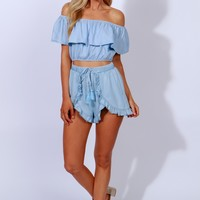 West Coast Crop Top Denim Blue