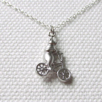 Circus Bear Necklace Tiny Quirky Pendant Bear on Bicycle Sterling Silver or Rhodium Chain Silver Animal Necklace