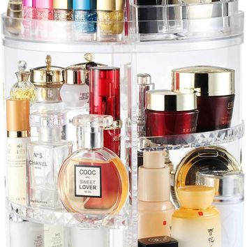 Boxalls Rotating Makeup Organizer, 360 Degree Crystal Adjustable Jewelry Cosmetic Perfumes Display Stand Box, 380 x 260 MM 8 Layers Great Capacity Make Up Storage for Dresser, Bedroom, Bathroom