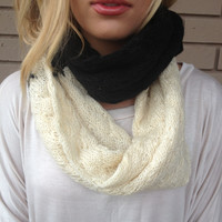 Black & Cream Block Knit Infinity Scarf - Black & Cream Block Knit Infinity Scarf
