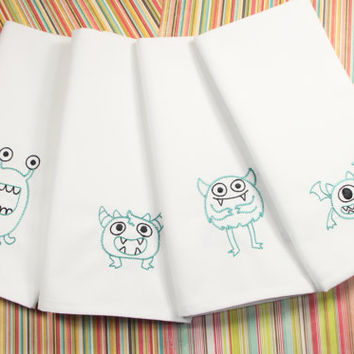 Monster Lunch Cloth Napkins, Set of 4, Embroidered Cloth Napkins, Funny Everyday Napkins, Kids Cloth napkins, lunch napkins, lunchbox napkin