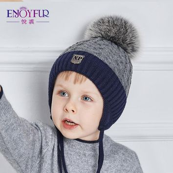 ENJOYFUR Winter Thick Warm Baby Hats With Real Fox Fur Pom Pom Boy Caps Good Quality Children Hats For Winter Knitted Kids Cap