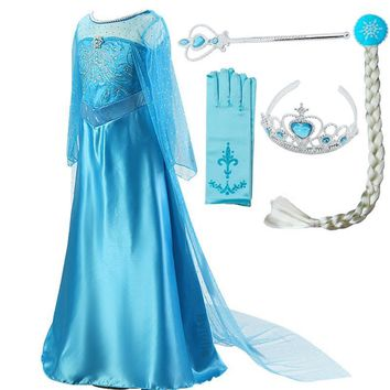 Cool Girls Princess Elsa Dress Costumes for kids Anna Snow Queen Costume Cosplay Dresses Clothes Children Party Dress VestidosAT_93_12