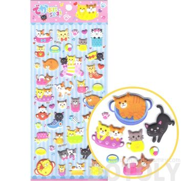 Cartoon Kitty Cat Shaped Japanese Animal Themed Puffy Stickers for Scrapbooking