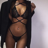 Black Lace Lingerie Set