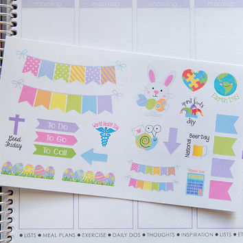April Holiday Stickers - Easter Spring Earth Day | Set of 24 | Erin Condren Life Planner, Inkwell, Plum Paper, Calendar, Scrapbook