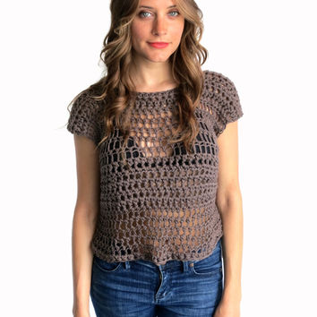 Crochet Top Tee Festival Hippie Boho Beach Cover Up // High Tide Low Tide Tee in Rockaway // Many Colors Available