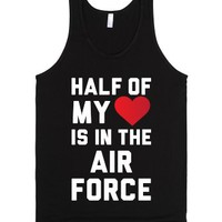 Half My Heart Is In The Air Force-Unisex Black Tank