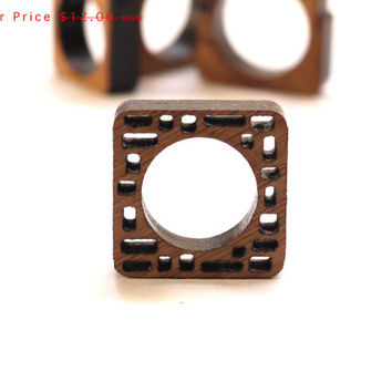 eco friendly SALE wood ring - Bamboo Wood Irregular Block Ring - modern jewelry. spring fashion gifts