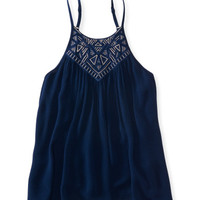 Embroidered High-Neck Swingy Tank - Aeropostale