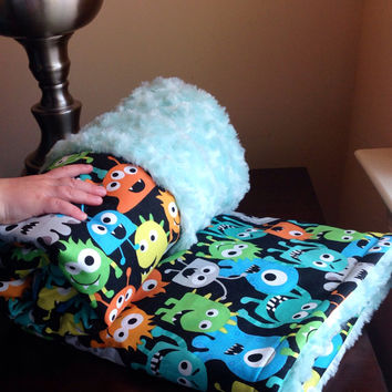 Little kid - Toddler minky blanket, quilt, crib bedding - Multicolored Monsters & Turquoise Aqua Fur Minky