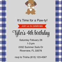 Puppy Gingham Birthday Party Invitations for Boys