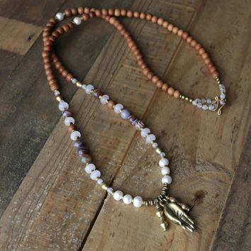 Sandalwood, Pearl and Rose quartz 108 Bead Mala Necklace