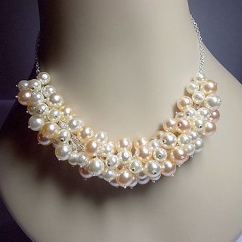 Peach and Cream Pearl Cluster Necklace, Christmas Gift, Mom Sister Grandmother Wedding Jewelry, Cocktail, Party