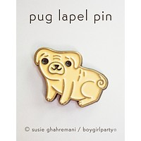 Pug Dog Enamel Pin - Pug Enamel Pin - Dog Lapel Pin