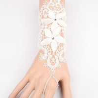 Charming Cut Out White Lace Foral Long Bracelet For Women - White