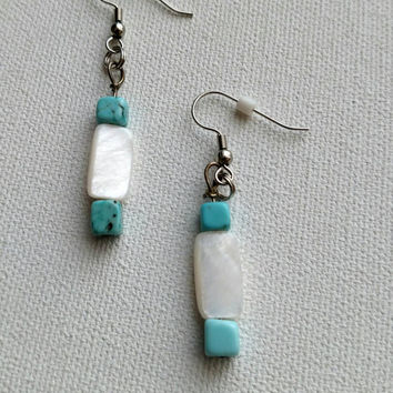 Turquoise and white beaded earrings, handmade.