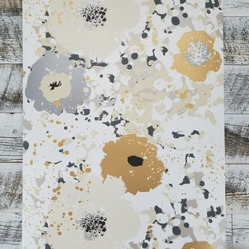 York Spontaneity Metallic Gold Silver Floral Wallpaper