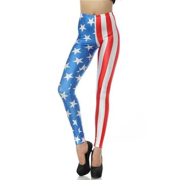 American Flag Women's Red White & Blue Slim High Waisted Elastic Printed Fitness Workout Leggings
