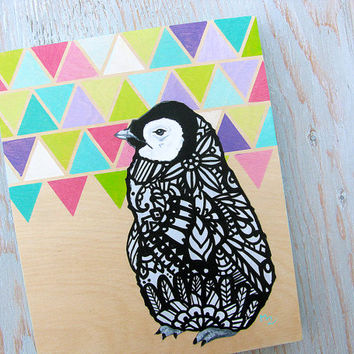 Penguin Zentangle Original Painting