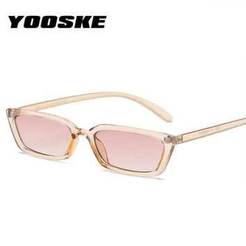 YOOSKE Fashion Flat Top Cat Eye Sunglasses Women Vintage Narrow Frames Sun Glasses Luxury Brand Designer Rectangle 90s Glasses