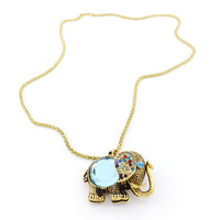 Gold-tone Blue Crystal Cute Elephant NECKLACE
