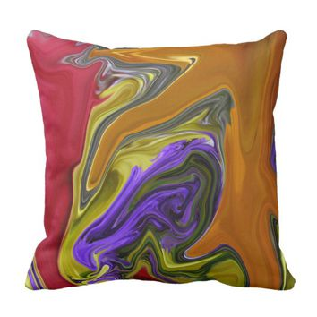 Funky Colorful Liquid Wave Throw Pillow