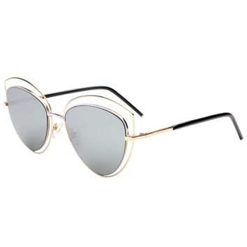 Cat Eye Reflective Mirrored Wide Sunglasses