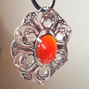 Vintage Sterling Silver filigree Brooch Necklace with carnelian Stone Signed Pendant on lace