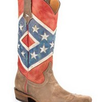 Roper Rebel Flag-brown Toe Cap Snip Toe Americana Collection Cowboy Boots Urban Western Wear