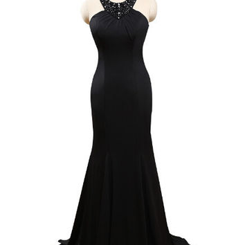 Halter Top Beaded Elegant Black Jersey Long Mermaid Prom Dress Vestidos De Prom Largos Black Masquerade Dress,PD030
