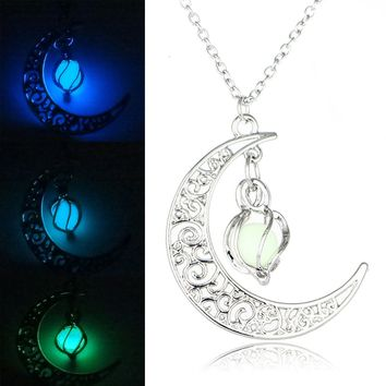 Vintage Glow In the Dark Jewelry Silver Plated with Crescent Shaped Loket Pendant  Luminous Stone Beads Necklace for Women Gift