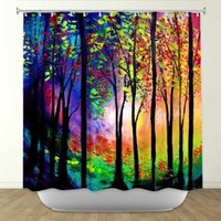 Shower Curtain Artistic Designer from DiaNoche Designs by Artist Aja Ann Unique, Cool, Fun, Funky, Stylish, Decorative Home Decor and Bathroom Ideas - Autumn Eve II