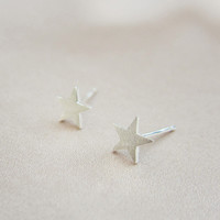Simple pentagram 925 sterling silver earrings, a perfect gift