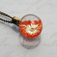 Mini Pressed Flower Necklace Real Flower Resin Ball Orange Daisy Orb Globe Jewelry Crystal Clear Petite Dainty Gift for Her