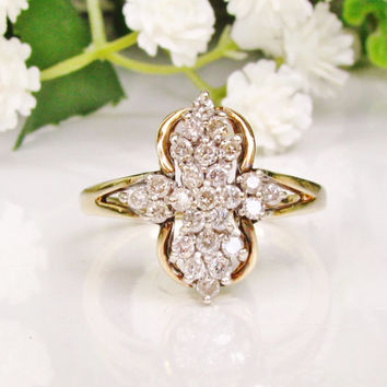 Vintage Engagement Ring 0.50ctw Diamond Cluster Ring 10K Gold Diamond Cross Ring Unique Cocktail Ring Diamond Wedding Ring Bridal Jewelry!