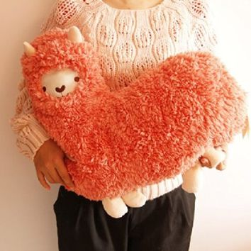 Aunt Merry Mokomoko Llama Alpaca Hug Pillow Cushion Doll (pink)