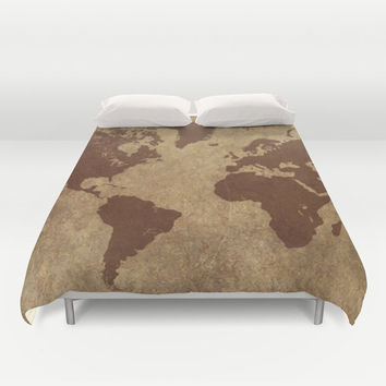 World Map Duvet Cover, World Map Art, World Map Bedding, World Map Decor, Full, Queen, King, Teen Decor, Dorm Room Decor