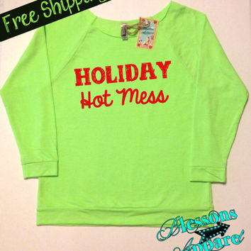 HoLiDaY HoT MeSS. Christmas Sweatshirt. Funny Christmas Sweatshirt. Ugly Christmas Sweater.  XMAS. Holiday. Free Shipping USA