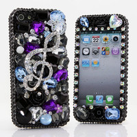 iPhone 5 5S 5C 4/4S - Samsung Galaxy S3 S4 Note2 3 - Handcrafted Case Cover Luxury Bling Crystal Diamond Music Treble Clef Black Purple_394