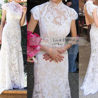 Sheer Hight Neckline Floral Alencon Lace Keyhole Back Mermaid Gowns/Wedding Dress with Cap Sleeves Sweep Train