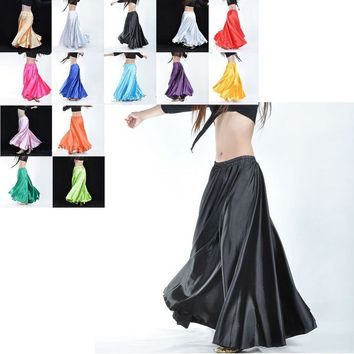 Best dance Professional Belly Dance Costume Satin Long Skirt full skirt Hot 360 Full Circle Satin Long Skirt Swing Belly Dance C