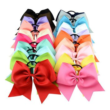 "20 PCS/Lot 8"" Inch Big Bow Elastic Hair Tie Rope Ring Headbands Bands Accessories Flower Ponytail Holder for Baby Girls Toddlers Women"