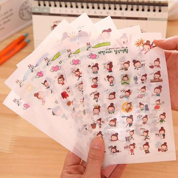 18 sheet Cute Kids DIY Stationery Stickers Decal Adhesive Baby Girl Boy Ablum Planner Scrapbooking Decor Diary Removeable Label