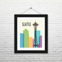 Seattle skyline, 8x10 digital download, typography print, home decor, modern, instant print, printable wall art, city skyline, space needle