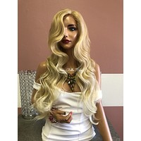 Blond Balayage Swiss Lace Front Wig 22"