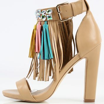 Privileged Bossy Jewel Fringe High Heels