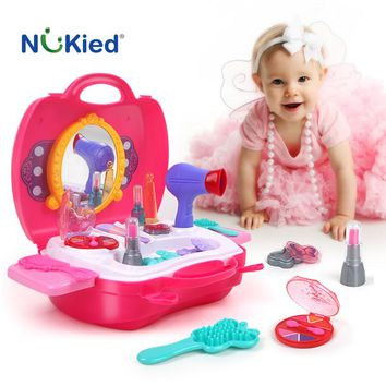 NUKied Girls Make Up Pretend Play Toy Portable Plastic Cosmetics Case Baby Educational Toy Cosplay Role Play Gift For Kids