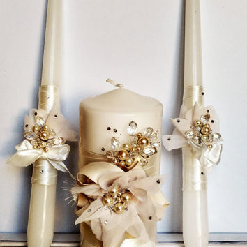 Unity Candles Wedding Candle Ceremony Set Decorations Ivory